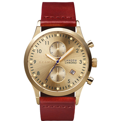 TRIWA  Lansen Chrono系列 濃醇紅酒經典時尚腕錶-金X紅/38mm