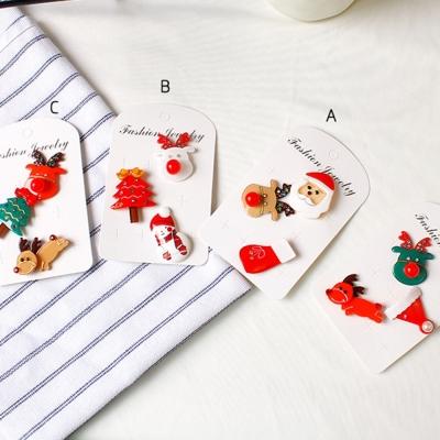 梨花HaNA-聖誕節快樂可愛麋鹿老公公胸針三件套