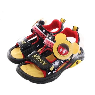 迪士尼米奇魔鬼貼閃燈涼鞋 黑紅 sk0089 魔法Baby