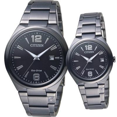 CITIZEN 相遇時尚對錶(AW1375-58E+FE6025-52E)IP黑