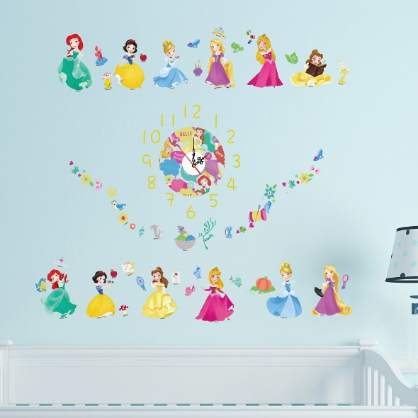 itaste小品味-迪士尼可愛公主時鐘壁貼30cm*90cm