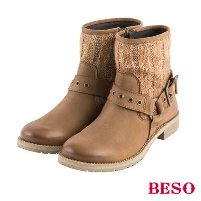 BESO街頭風潮 金屬飾釦拼接毛呢工程短靴~茶