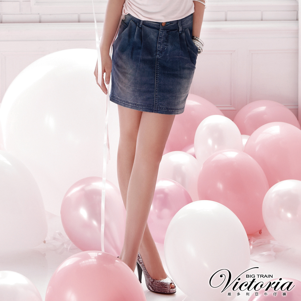 Victoria 打摺裙-女-中藍