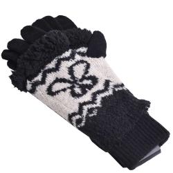 ANNA SUI 兩用露指二重造型毛線手套(黑底/白)