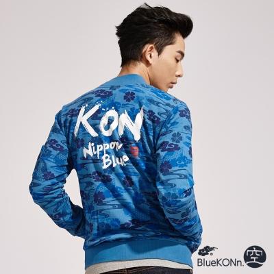 日本藍-BLUE-WAY-滿版浮世繪迷彩風長袖外套-藍