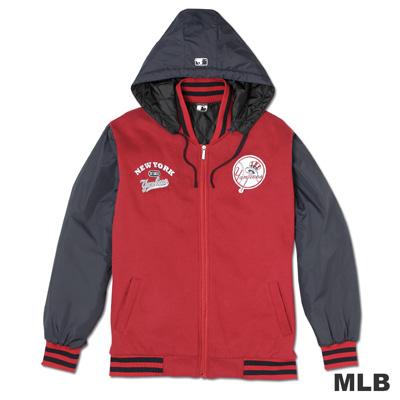 MLB-紐約洋基隊鋪棉連帽棒球外套-深紅(男)