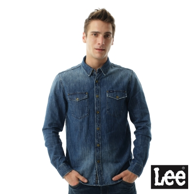 Lee 牛仔101+帥氣長袖圖騰襯衫- 男款-藍色