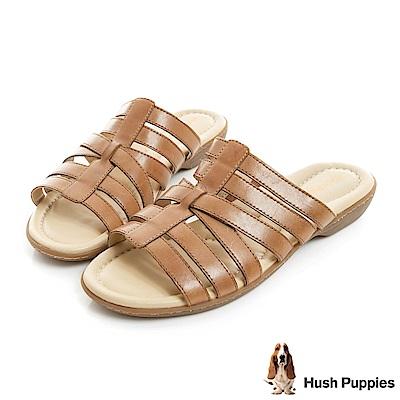 Hush Puppies DACHSHUND 舒適減壓羅馬涼拖鞋-棕色