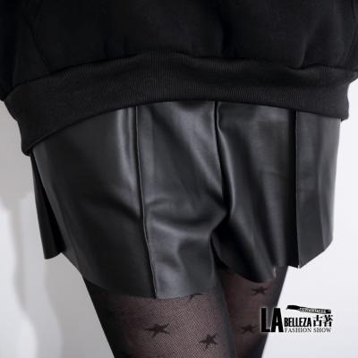 古著 皮短褲側口袋壓線鬆緊腰圍皮質褲裙