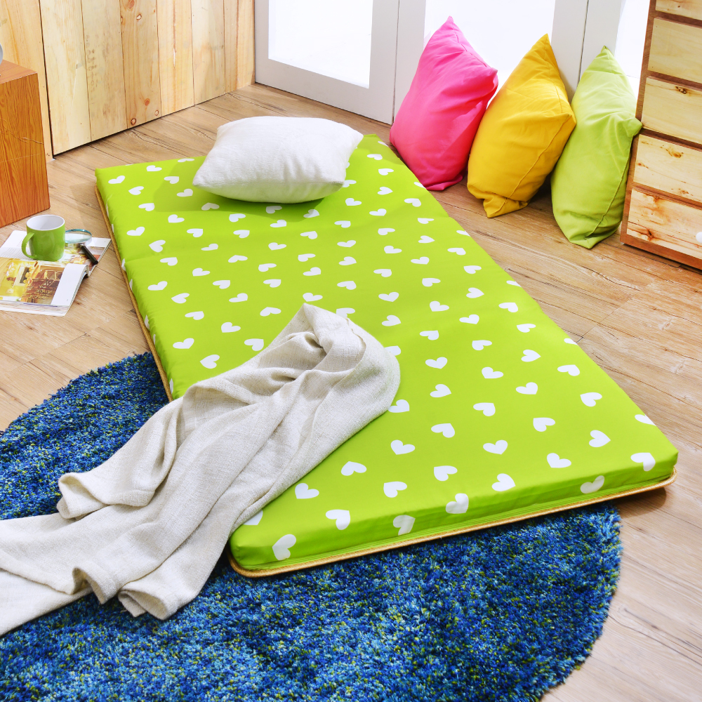 (好康)台灣製 超值 單人透氣兩用便利三摺床墊  繽紛愛心-綠