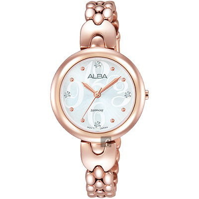 ALBA 施華洛世奇晶鑽手鍊女錶(AH8344X1)-銀x玫瑰金/28mm