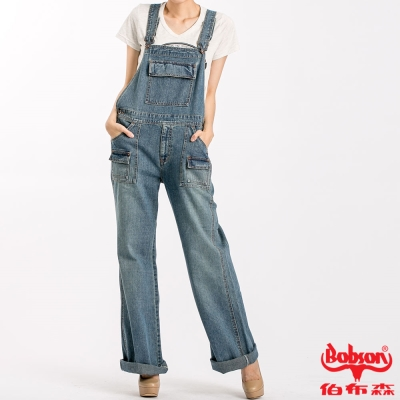 BOBSON 女款低腰刷白牛仔吊帶褲