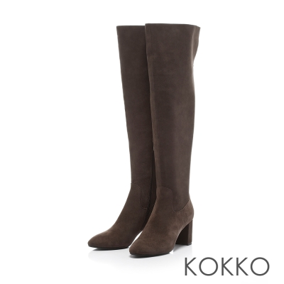 KOKKO-顯瘦美腿可反摺素面高跟長靴-風尚灰