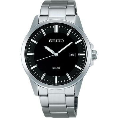 SEIKO SPIRIT 極簡太陽能腕錶(SBPN091J)-黑x銀/39mm