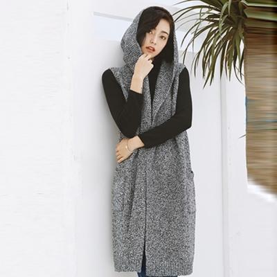 La Belleza混色連帽無袖側口袋長版毛料針織背心罩衫