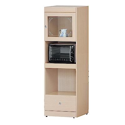 品家居 柏莎2尺橡木紋單門單抽高餐櫃-60x41.5x182cm免組