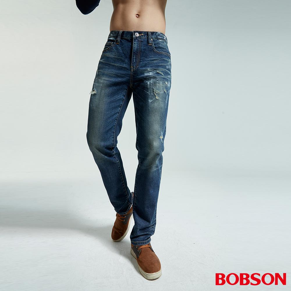 BOBSON 男款低腰噴漆磨破直筒褲