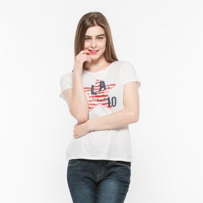 Hang Ten - 女裝 - 有機棉 趣遊美國星星印圖T-Shirt -白
