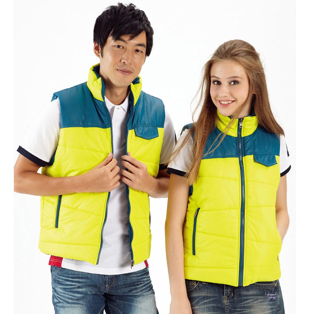 【LEIDOOE】 鋪棉桃皮男女款雙面背心-黃藍撞色款22069