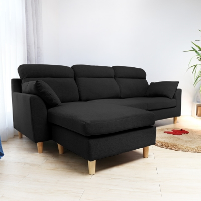 H&D  Martin 馬汀舒適高背L型布沙發-黑色
