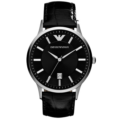 EMPORIO ARMANI 嶄新時刻大錶徑日期腕錶-AR 2411 / 43 mm