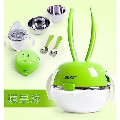 BERZ 英國貝氏 彩虹兔五合一組合不鏽鋼餐具組 綠色