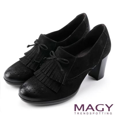 MAGY 英倫牛津 瀏海造型蠟感牛皮粗高跟鞋-黑色