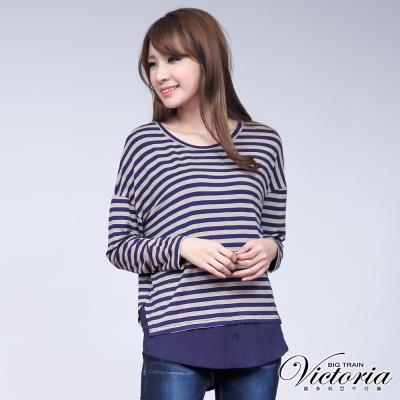 Victoria 條紋假兩件式寬鬆T-女-藍咖條