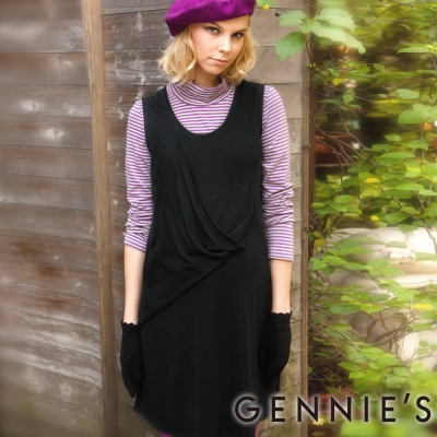 Gennies奇妮-Faravani系列-U領藝術風層次秋冬背心洋裝(C2202)