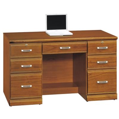時尚屋 雅安樟木實木4.2尺7抽書桌 寬127cm