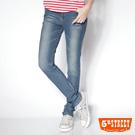 5th STREET 舒適美型 針織清涼中高腰直筒褲-女款(中古藍)
