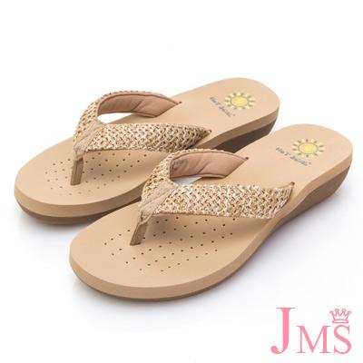 JMS-海島出遊必備舒適夾腳拖鞋-杏色