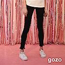 gozo 花朵縫珠抽鬚褲管顯瘦彈性長褲(黑色)