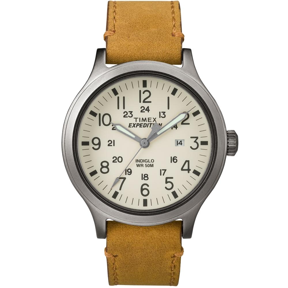 TIMEX 天美時EXPEDITION遠征戶外系列腕錶-米白x褐色帶/43mm