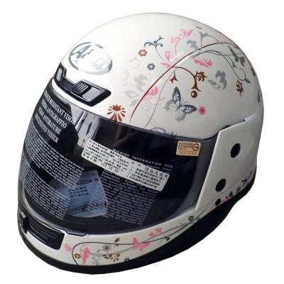 ASIA Breeze A801 花紋全罩式安全帽 白