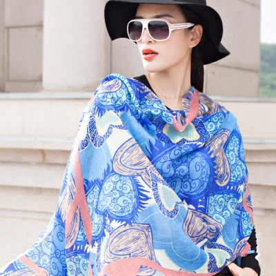 Seoul Show 窗櫺愛心純羊毛圍巾披肩2色 藍色