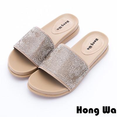 Hong Wa - 度假海洋風水鑽貼飾休閒拖鞋 - 米