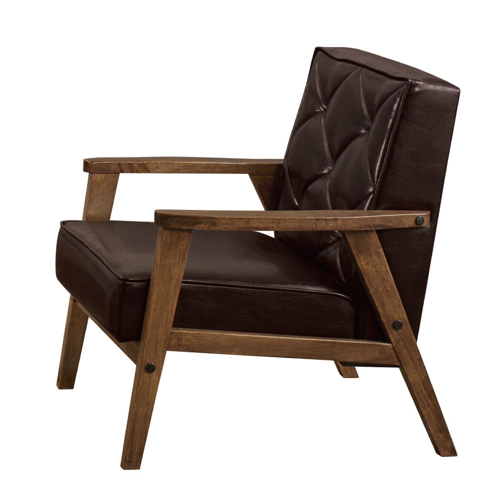 品家居 費莎透氣皮革實木沙發單人座-64x76x79cm免組
