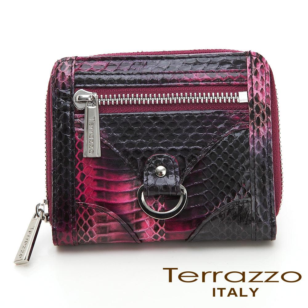 義大利Terrazzo - 時尚蛇皮造型五金短夾-紫色71S0693A