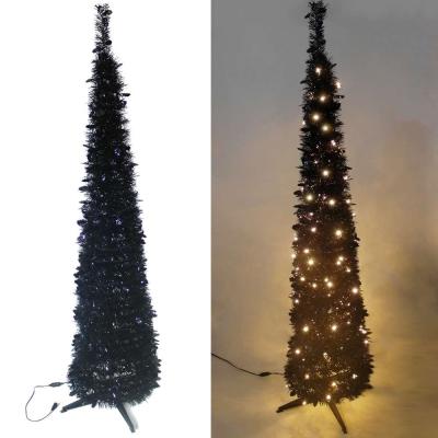 180cm彈簧摺疊黑色哈利葉瘦型聖誕樹(LED100燈-暖白光)