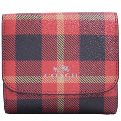 COACH-燙金LOGO格紋防刮皮革三摺釦式短夾-紅-黑