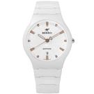 MIRRO 米羅 知性純淨晶鑽藍寶石水晶玻璃日期陶瓷手錶- 白色/36mm
