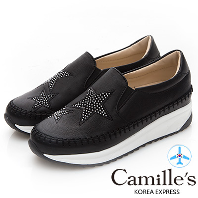 Camille's 韓國空運-正韓製-五角星鉚釘厚底運動休閒鞋-黑色