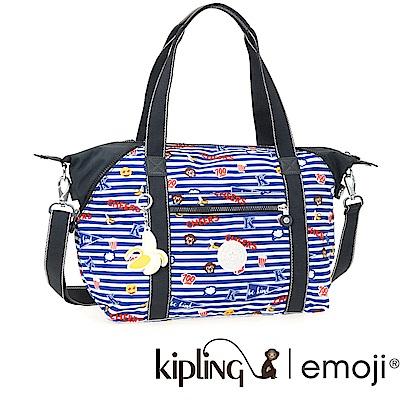 Kipling 斜背包 Emoji系列香蕉吊飾 條紋圖案-中