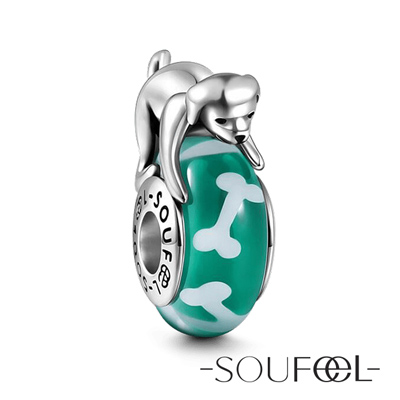 SOUFEEL索菲爾 925純銀珠飾 小狗啃骨頭 琉璃珠