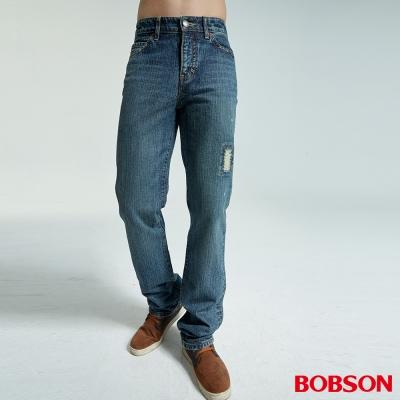 BOBSON 男款刷破中藍色直筒褲