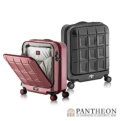 日本PANTHEON 19吋 霧面經典黑 商務人士推薦 立可拿前開登機箱/行李箱