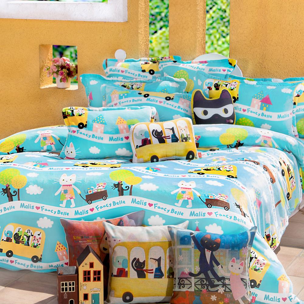 義大利Fancy Belle X Malis 一起郊遊趣 雙人四件式雪芙絨被套床包組