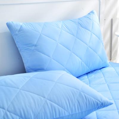 Grace Life 炫彩藍 台灣製吸濕排汗信封式保潔枕套--一對