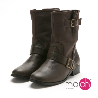 mo.oh 圓頭搭扣粗跟中筒靴機車靴-棕色